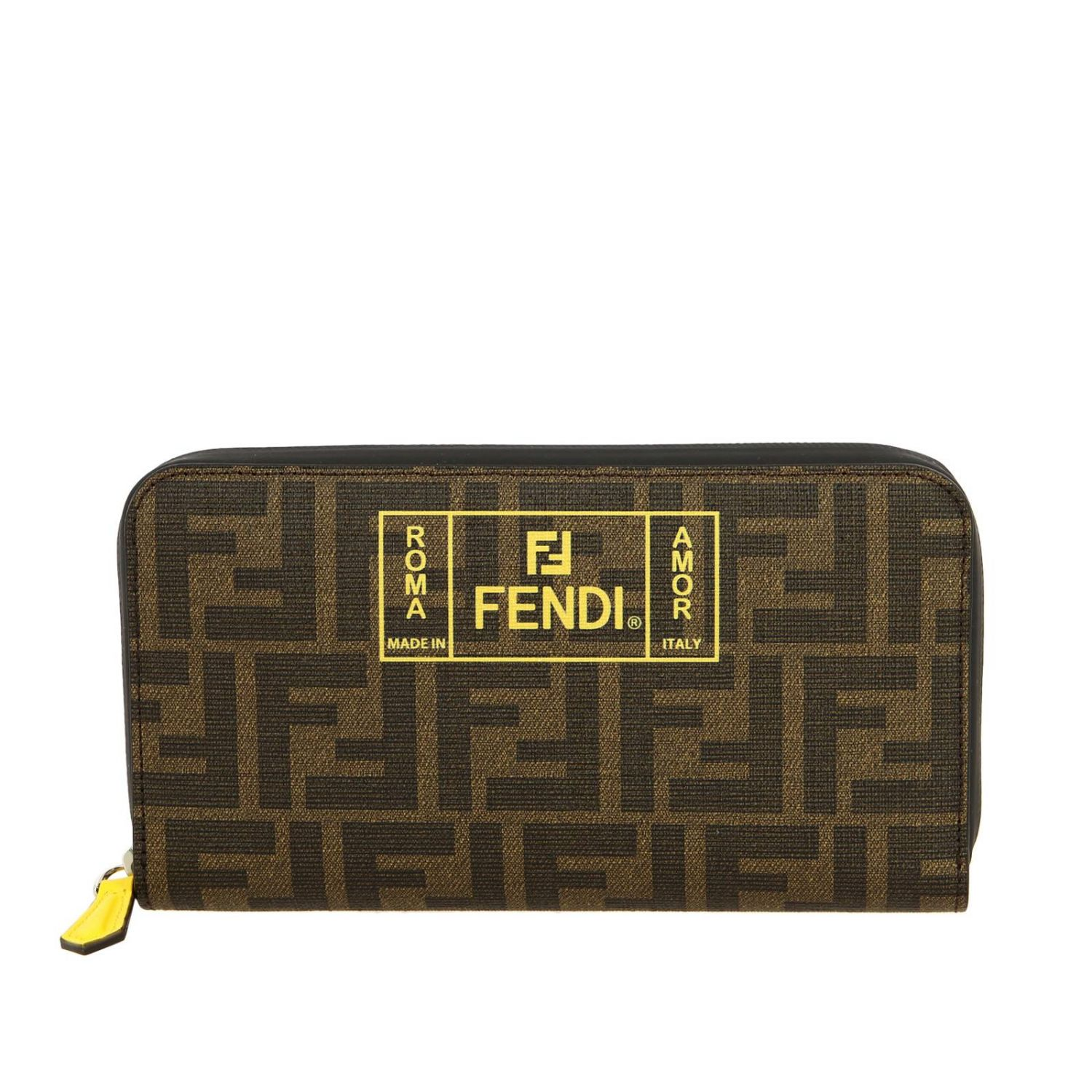 Fendi Continental FF all-over leather wallet with Rome print brown 1