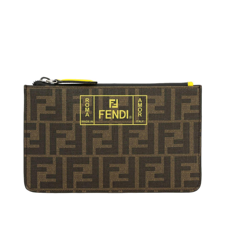 Портфель Fendi: Сумка-пошет Fendi с логотипом Roma amor коричневый 1