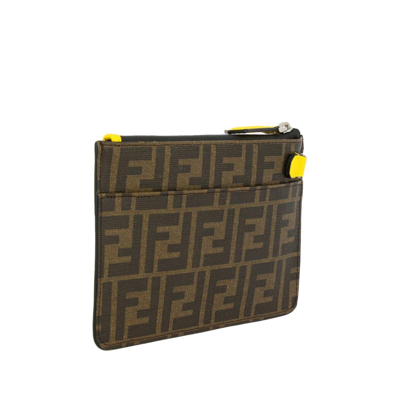 Портфель Fendi: Сумка-пошет Fendi с логотипом Roma amor коричневый 2