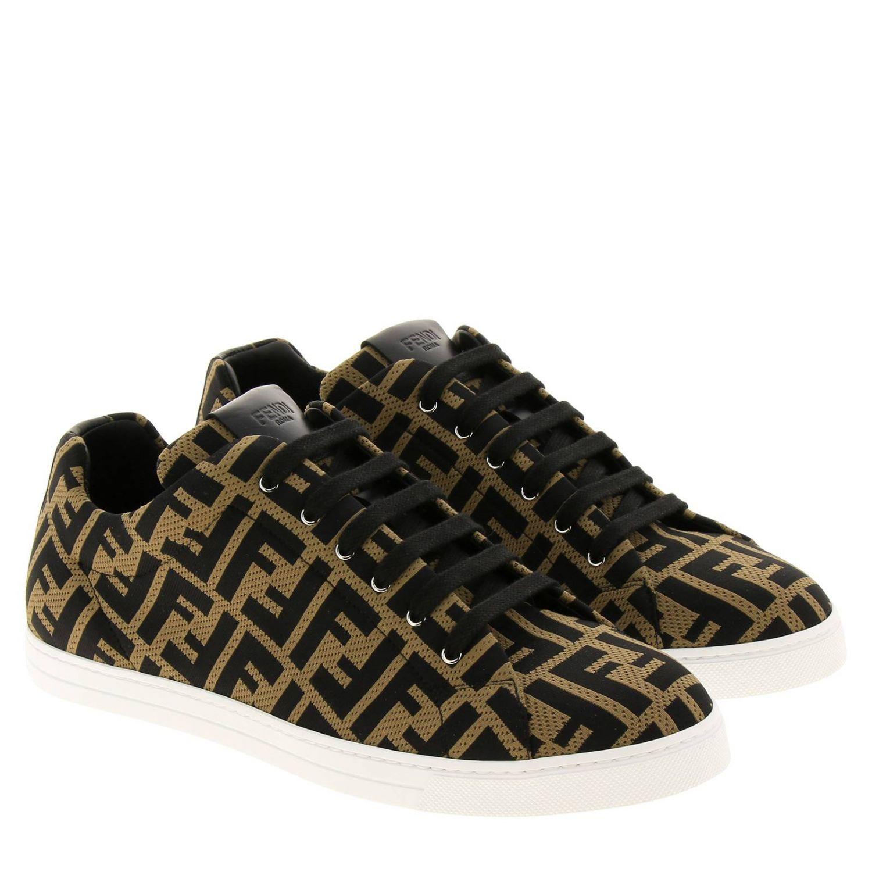 Sneakers Fendi in tessuto jacquard con monogramma FF all over e fondo a cassetta marrone 2