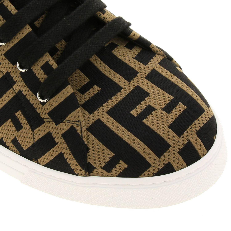 Sneakers Fendi in tessuto jacquard con monogramma FF all over e fondo a cassetta marrone 3