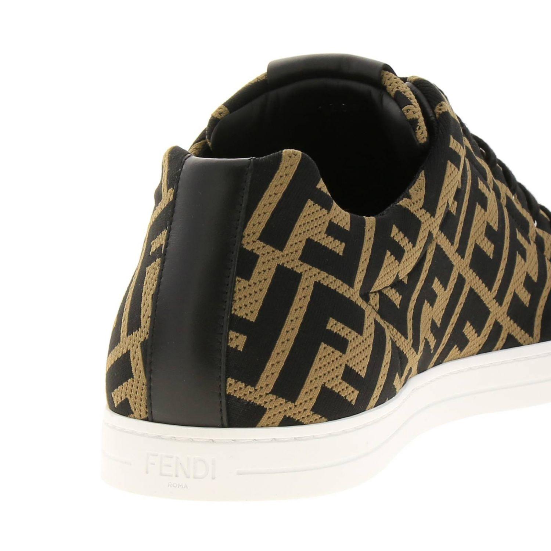 Sneakers Fendi in tessuto jacquard con monogramma FF all over e fondo a cassetta marrone 4