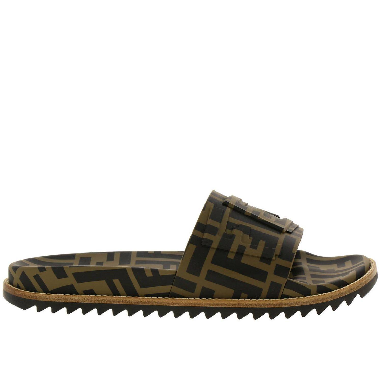 Sandalo a fascia FF Fendi all over con fondo in gomma e cuoio marrone 1