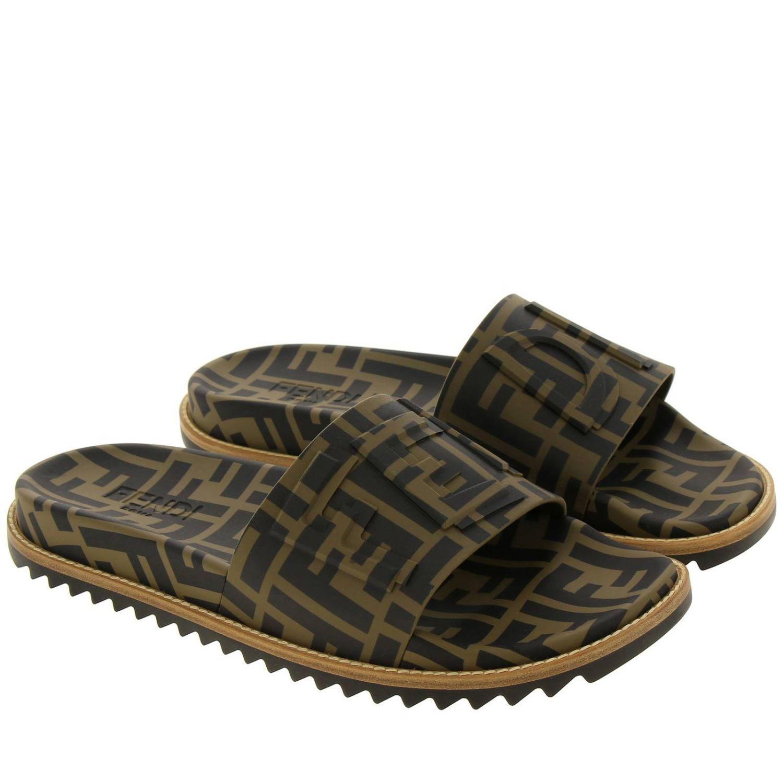 Sandalo a fascia FF Fendi all over con fondo in gomma e cuoio marrone 2