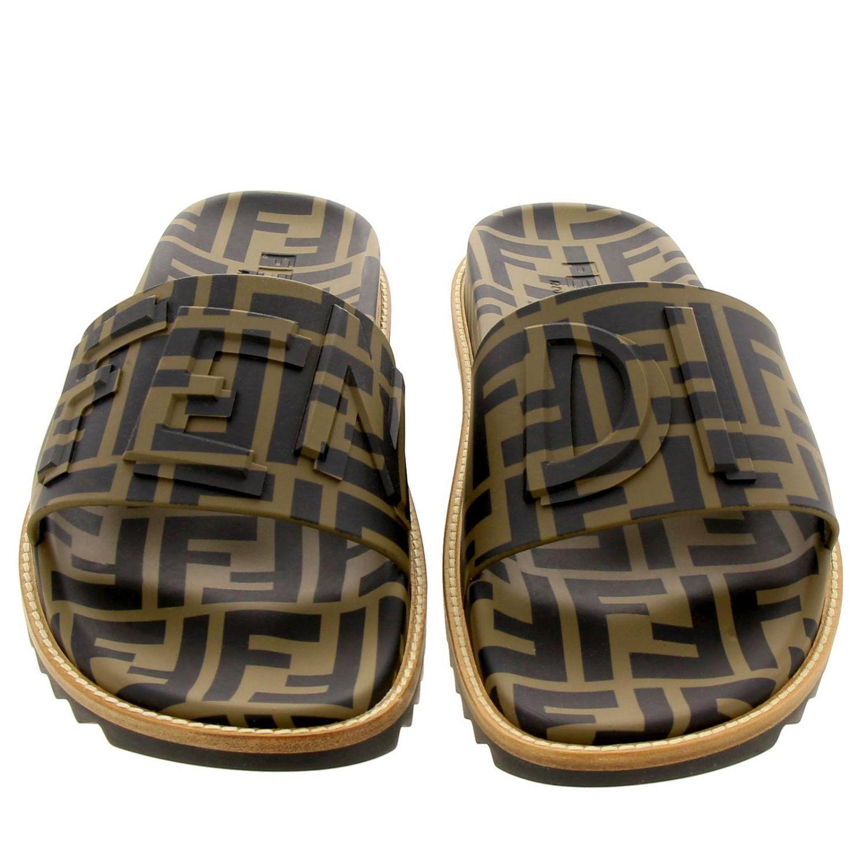 Sandalo a fascia FF Fendi all over con fondo in gomma e cuoio marrone 3