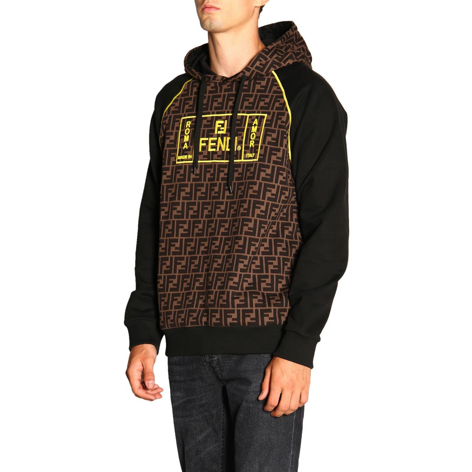 Sweatshirt Fendi Roma avec capuche et monogramme FF all over marron 4