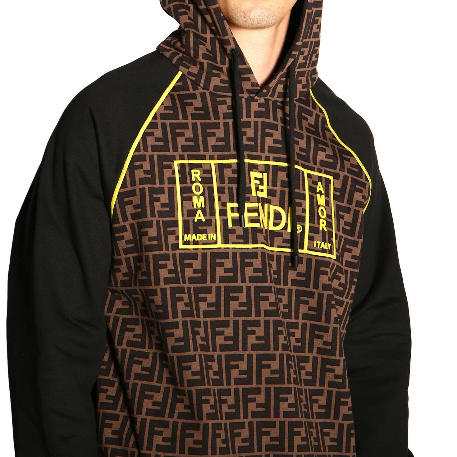 Sweatshirt Fendi Roma avec capuche et monogramme FF all over marron 5