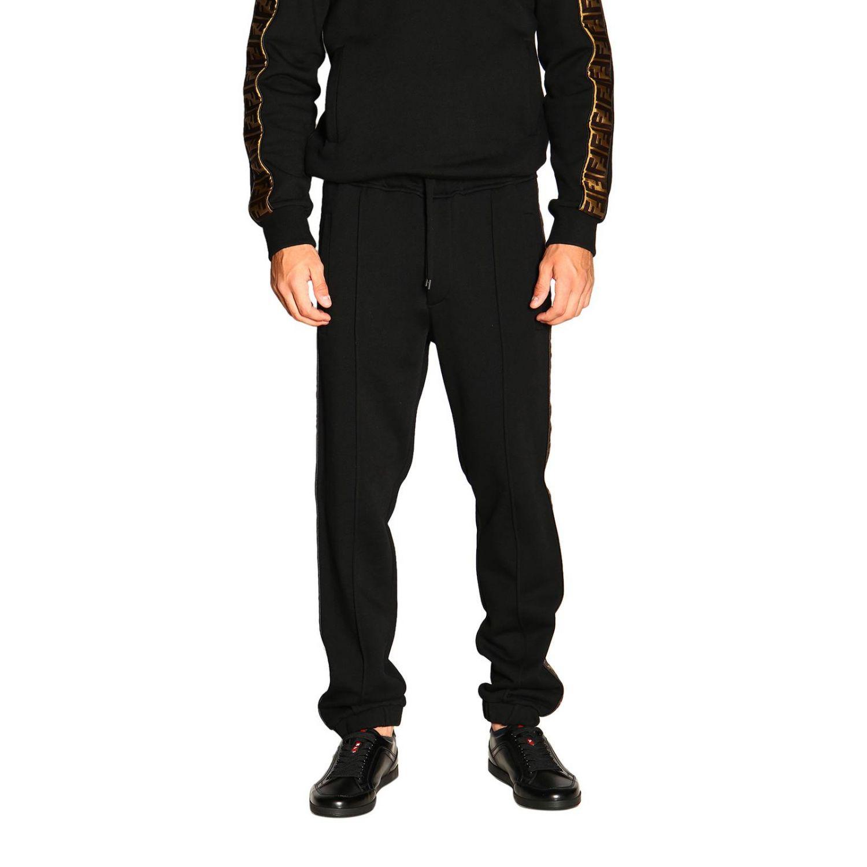 Pantalone jogging in jersey con bande laterali FF by Fendi nero 1