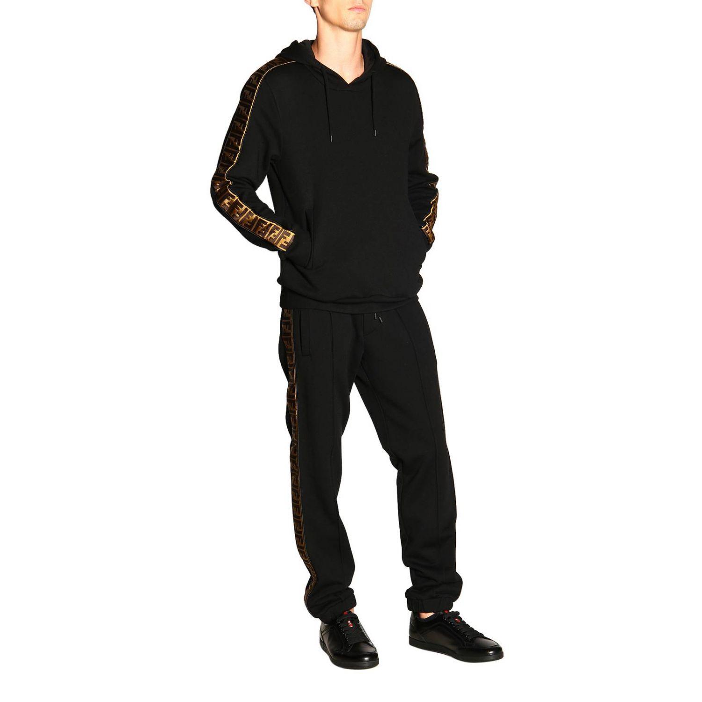 Pantalone jogging in jersey con bande laterali FF by Fendi nero 2