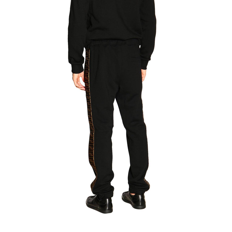 Pantalone jogging in jersey con bande laterali FF by Fendi nero 3