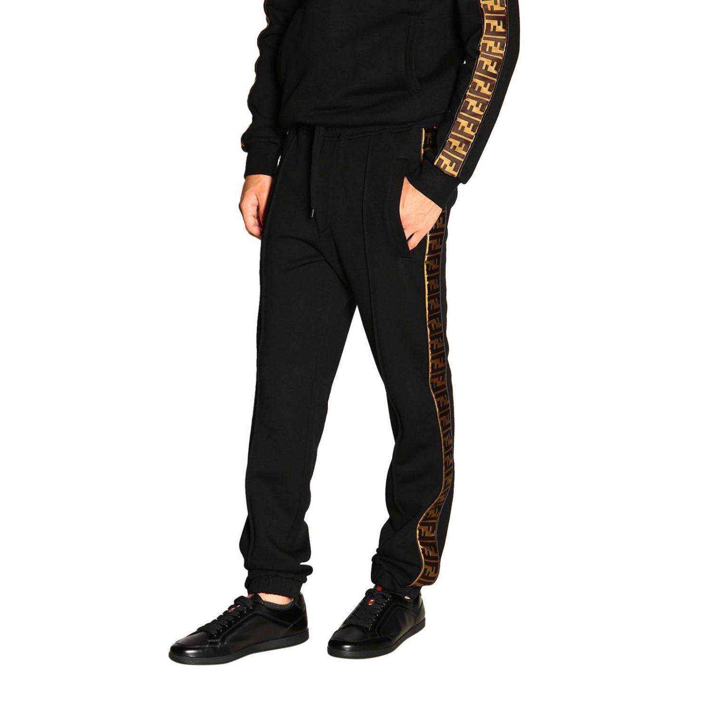 Pantalone jogging in jersey con bande laterali FF by Fendi nero 4