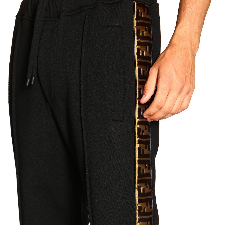 Pantalone jogging in jersey con bande laterali FF by Fendi nero 5