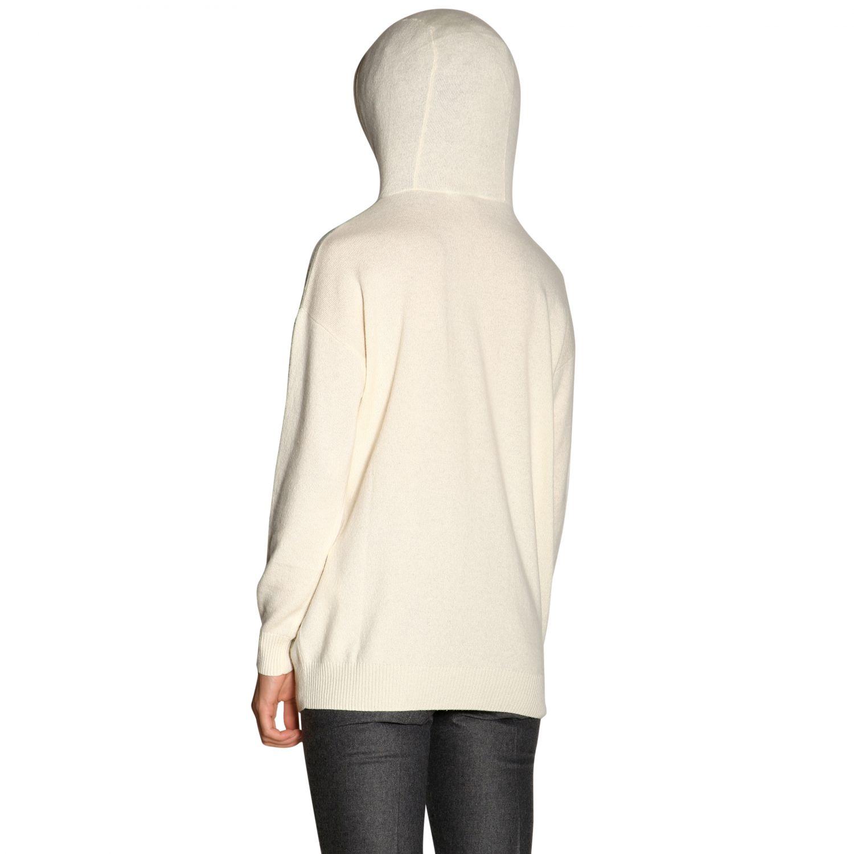 Redy cachemire cappuccio jacquard logo bianco 3