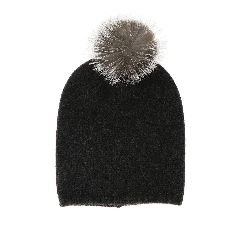 Cappello Crasso Max Mara in cashmere con pompon di pelliccia antracite 1