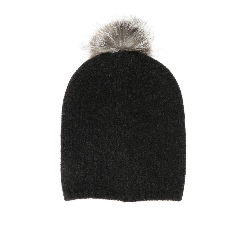 Cappello Crasso Max Mara in cashmere con pompon di pelliccia antracite 2
