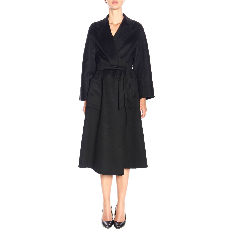Max Mara Labbro abrigo de cachemire con efecto sable y cinturón negro 1