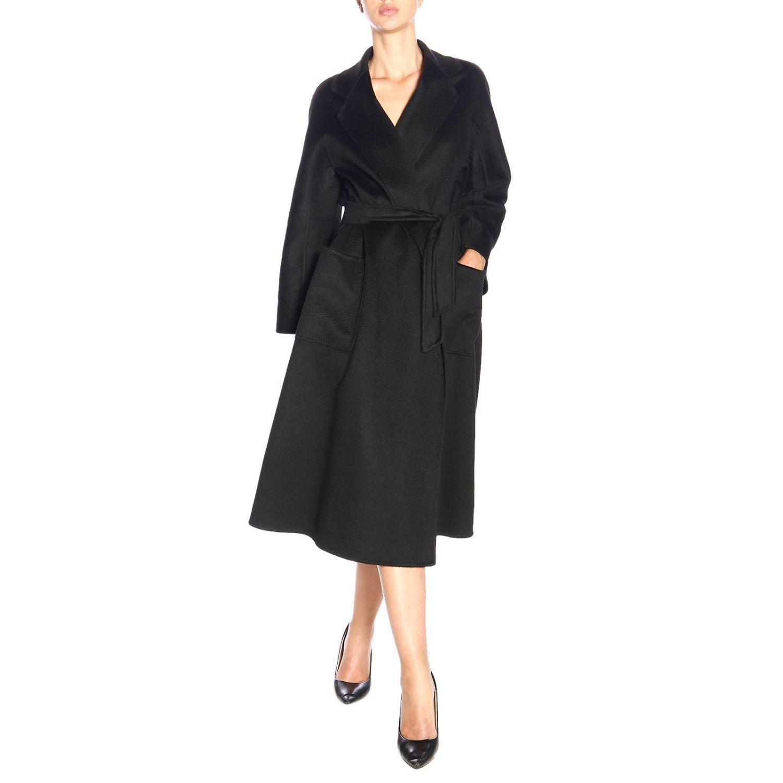 Max Mara Labbro abrigo de cachemire con efecto sable y cinturón negro 2