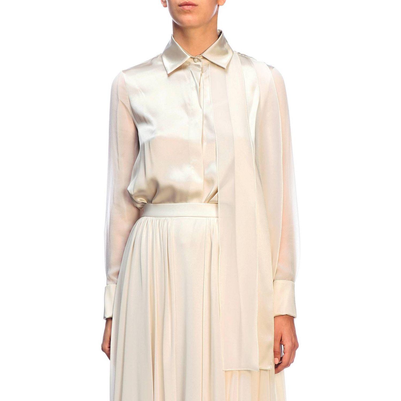 Camicia Max Mara: Camicia Mrsala Max Mara in seta lavata con collo a foulard crema 1