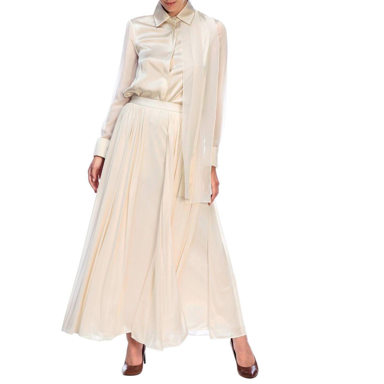 Camicia Max Mara: Camicia Mrsala Max Mara in seta lavata con collo a foulard crema 2