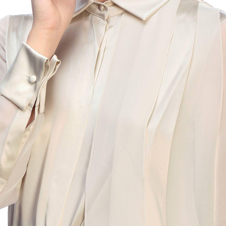 Camicia Max Mara: Camicia Mrsala Max Mara in seta lavata con collo a foulard crema 4