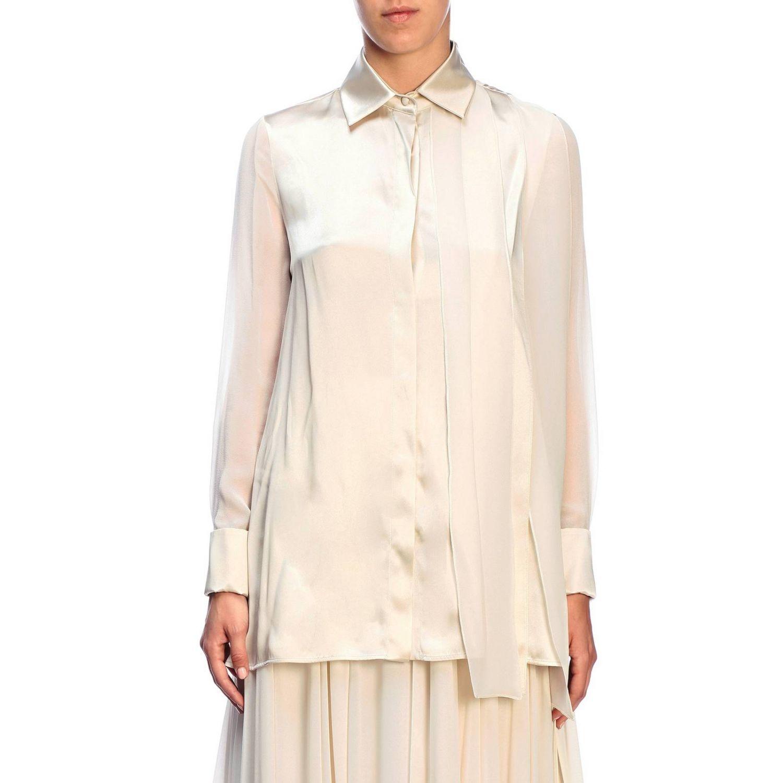 Camicia Max Mara: Camicia Mrsala Max Mara in seta lavata con collo a foulard crema 5