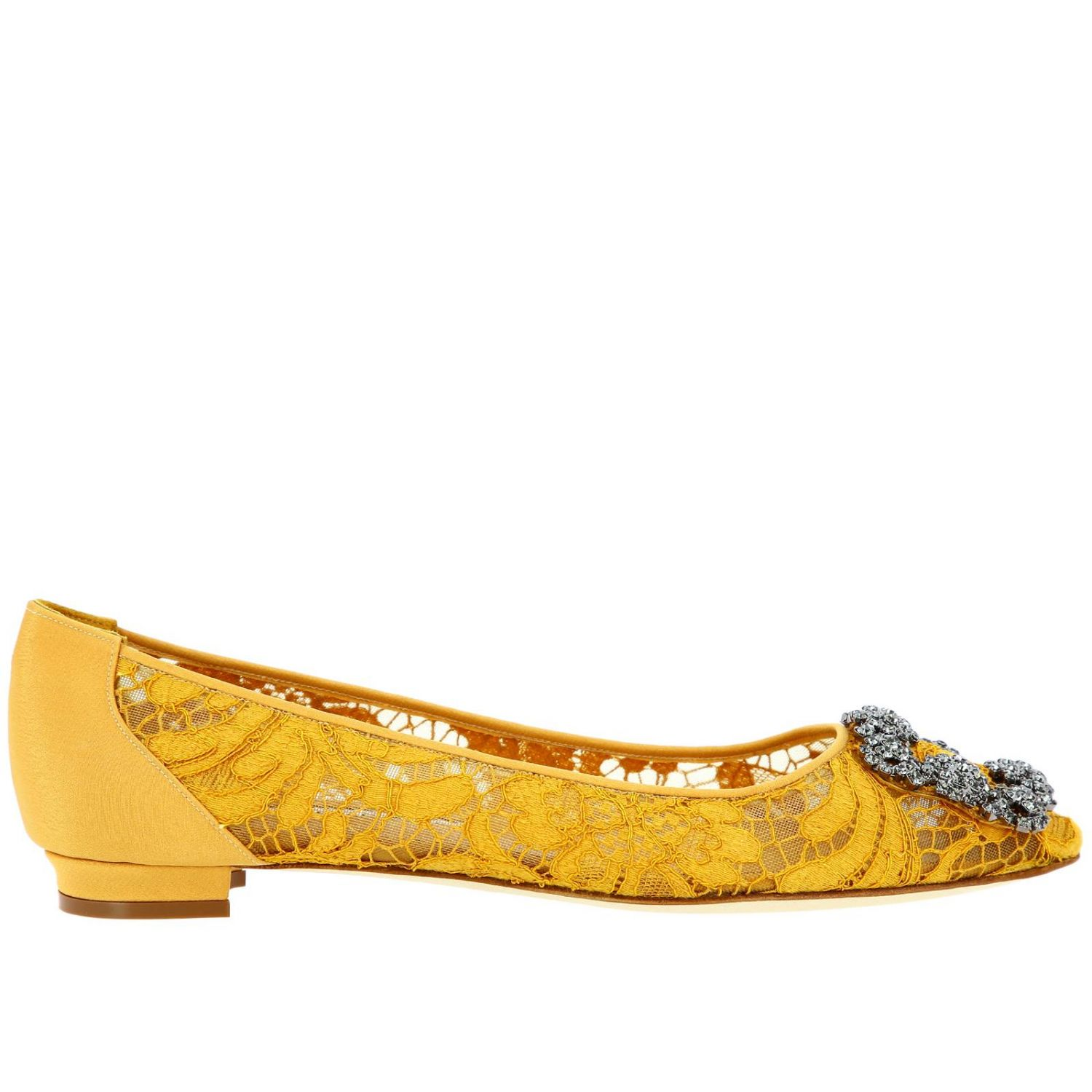 Hangisi Manolo Blahnik ballet flats in lace with smoky rhinestone buckle mustard 1