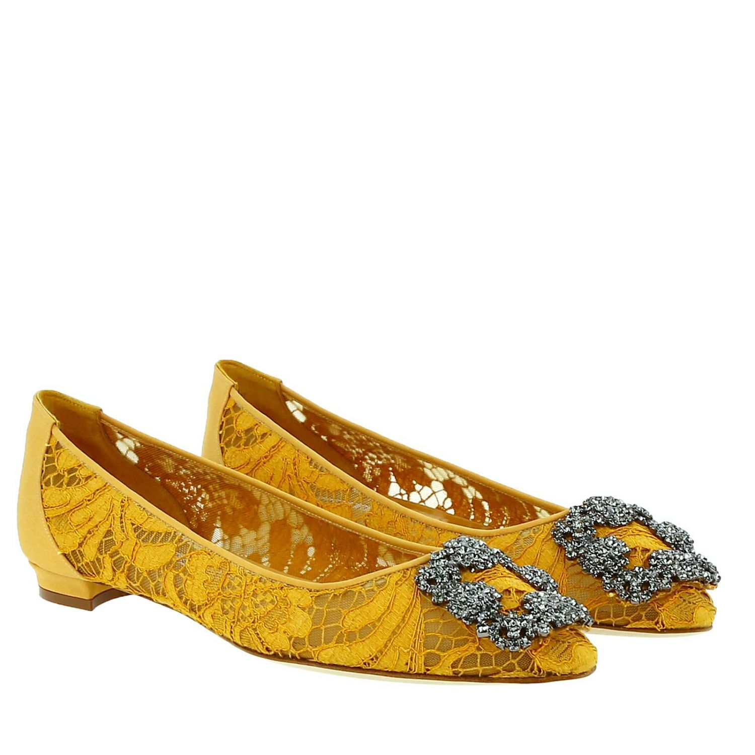 Hangisi Manolo Blahnik ballet flats in lace with smoky rhinestone buckle mustard 2