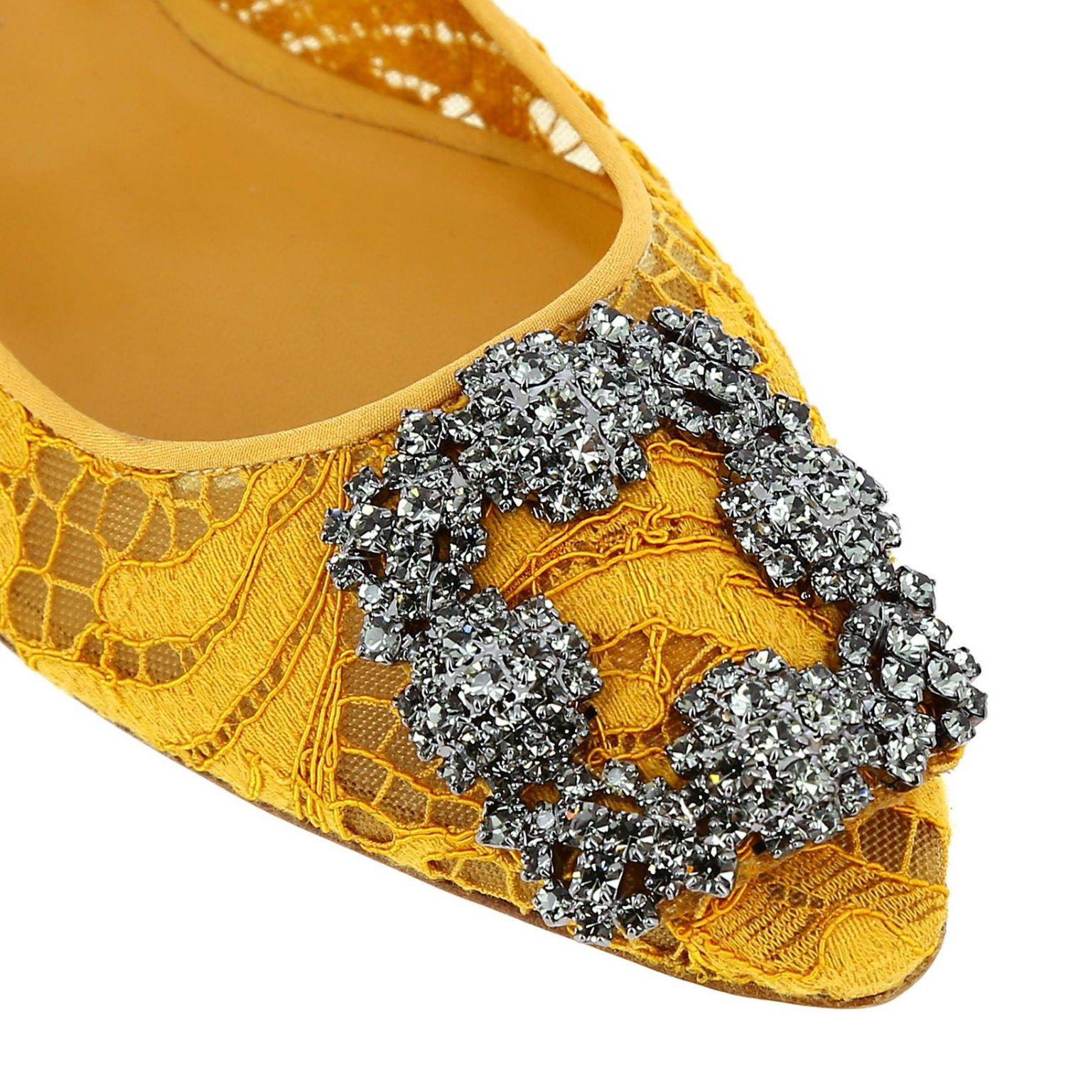 Hangisi Manolo Blahnik ballet flats in lace with smoky rhinestone buckle mustard 3