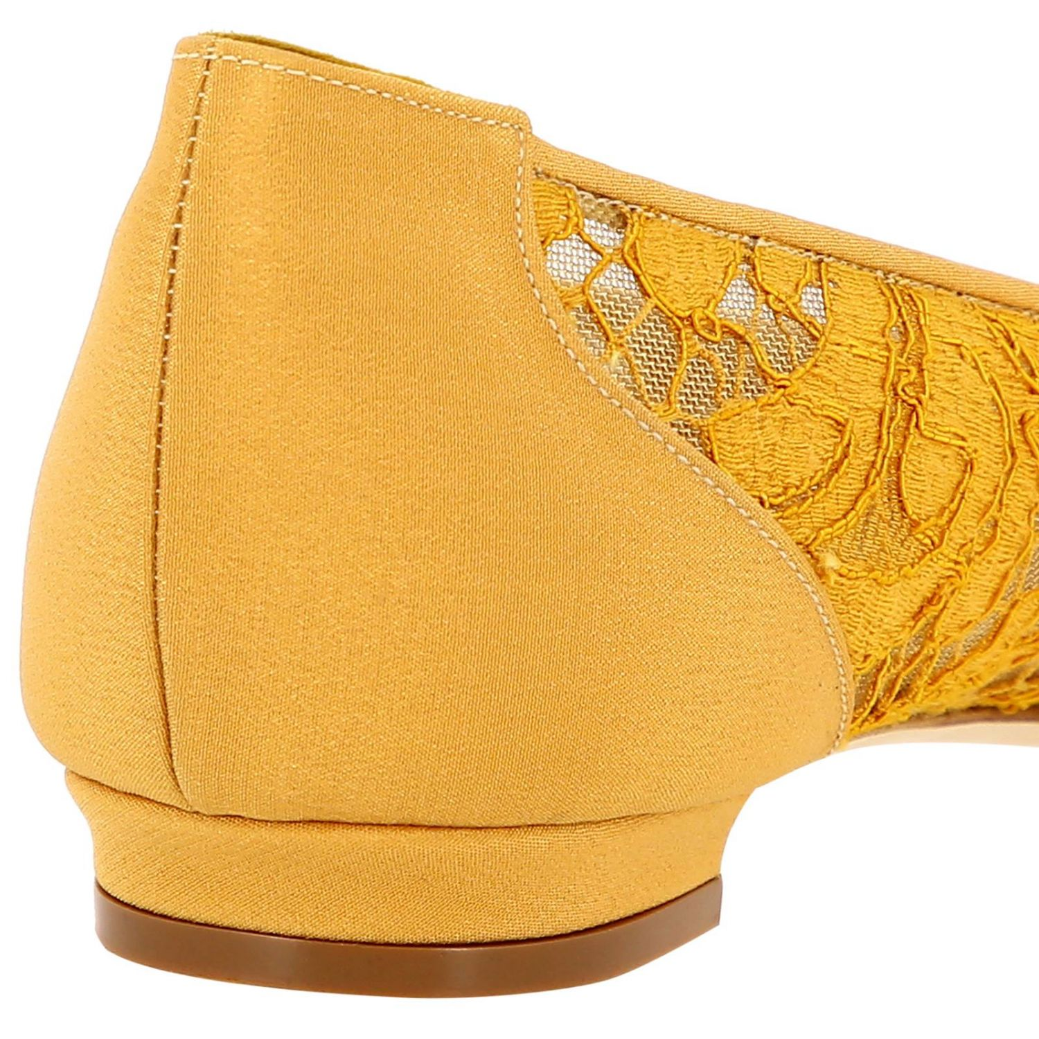 Hangisi Manolo Blahnik ballet flats in lace with smoky rhinestone buckle mustard 4