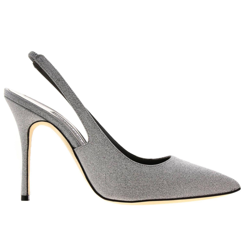Sandalo Allura Manolo Blahnik a punta in tessuto lurex argento 1