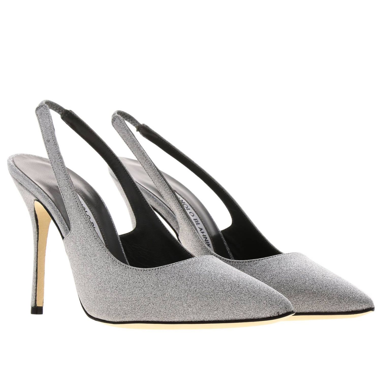 Sandalo Allura Manolo Blahnik a punta in tessuto lurex argento 2