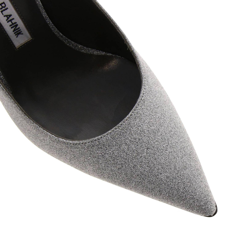 Sandalo Allura Manolo Blahnik a punta in tessuto lurex argento 3