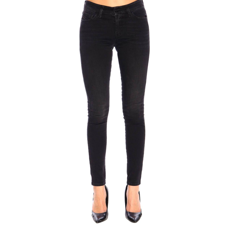 Jeans Slandy Diesel super skinny a vita regolare stretch a 5 tasche nero 1