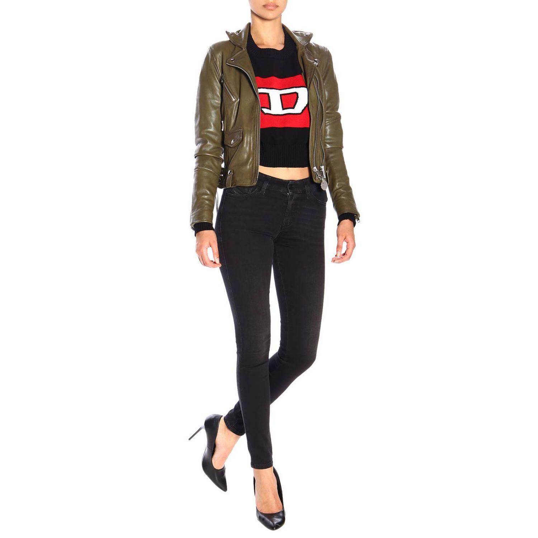 Jeans Slandy Diesel super skinny a vita regolare stretch a 5 tasche nero 2
