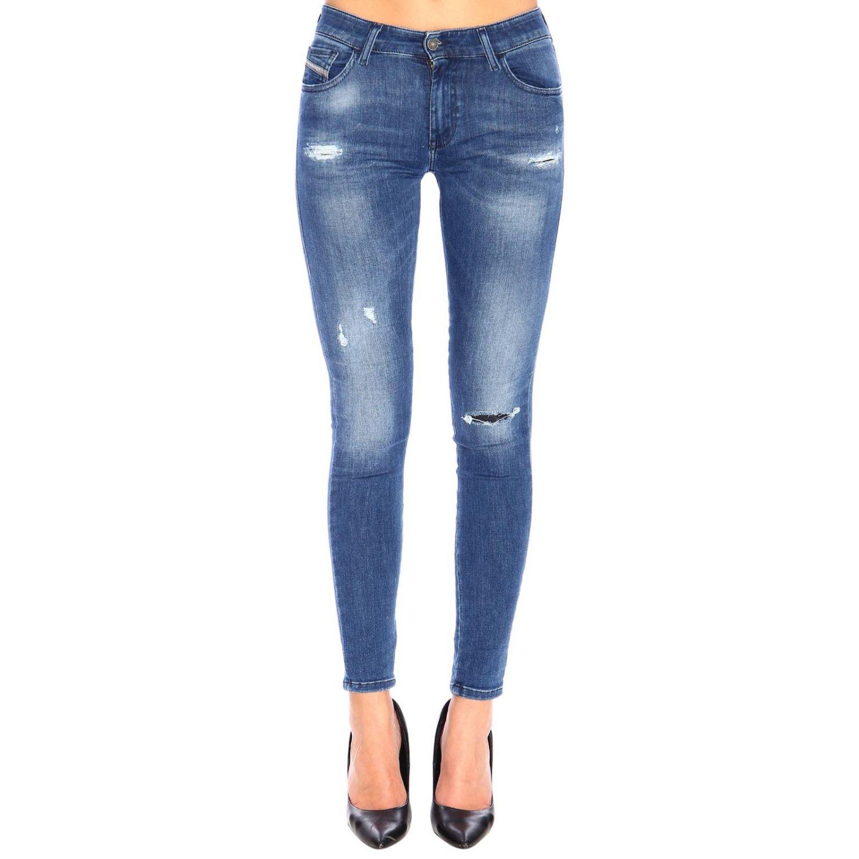 Jeans Slandy Diesel super skinny a vita bassa stretch used con rotture denim 1
