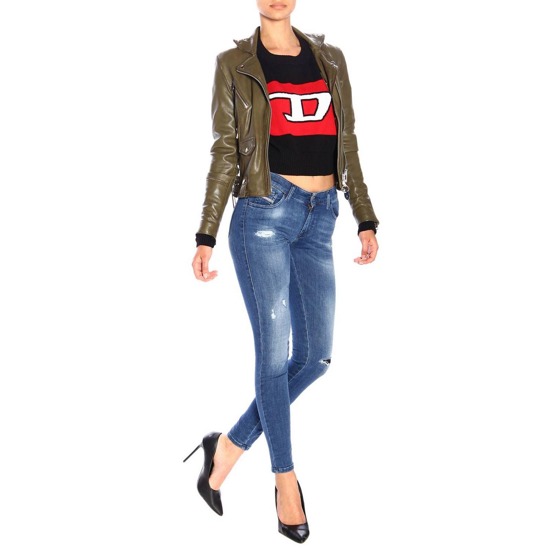 Jeans Slandy Diesel super skinny a vita bassa stretch used con rotture denim 2