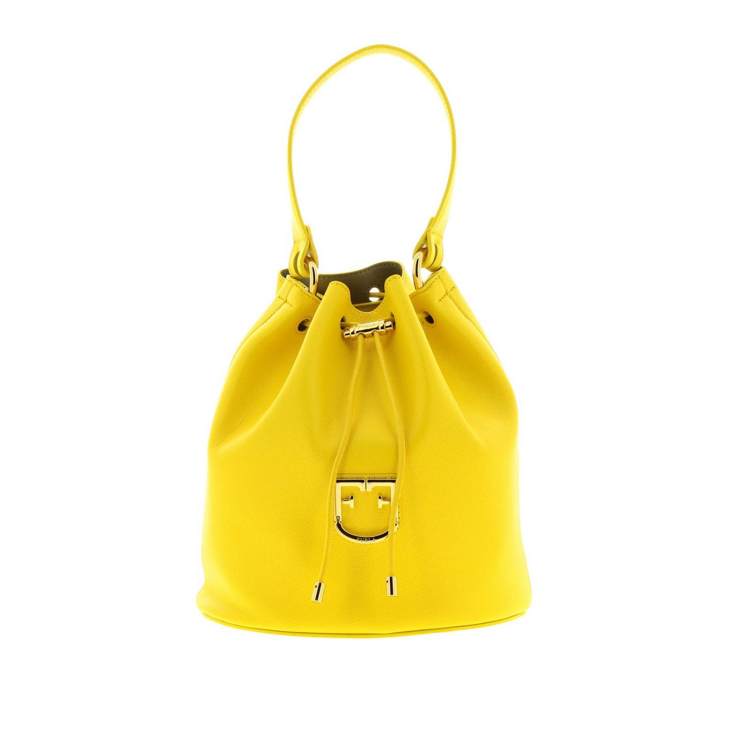 Furla Corona S bucket bag in textured leather with FF monogram ocher 1
