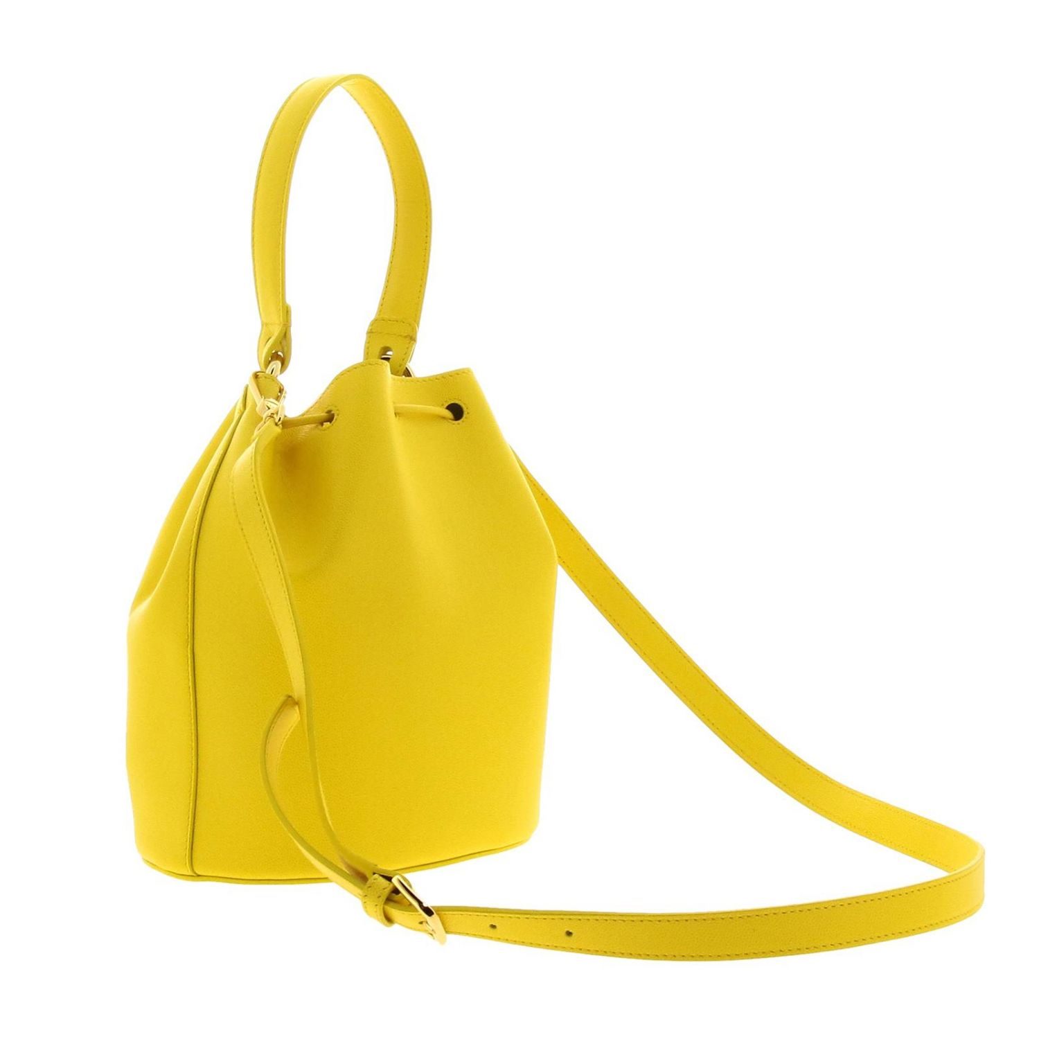 Furla Corona S bucket bag in textured leather with FF monogram ocher 3