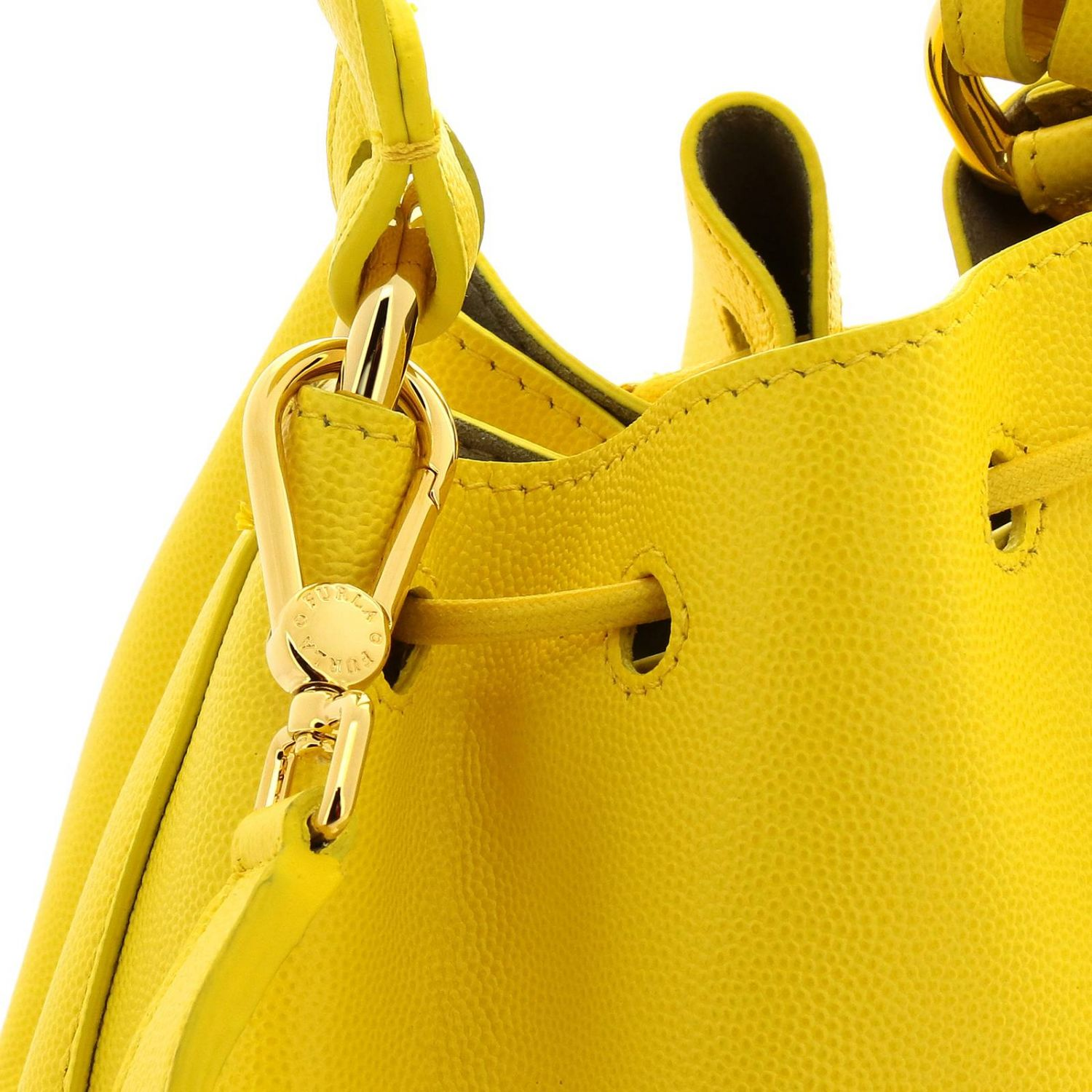 Furla Corona S bucket bag in textured leather with FF monogram ocher 4