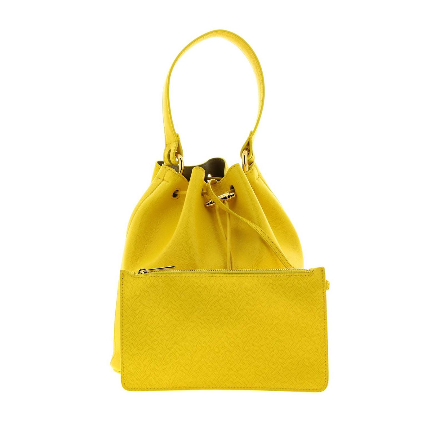 Furla Corona S bucket bag in textured leather with FF monogram ocher 5