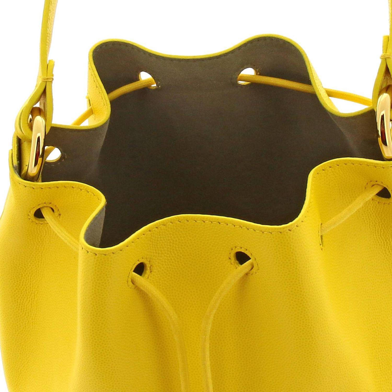 Borsa Corona S a secchiello Furla in pelle texturizzata con monogramma FF ocra 6