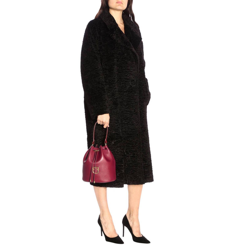 Borsa Corona a secchiello Furla in pelle texturizzata con monogramma FF ciliegia 2