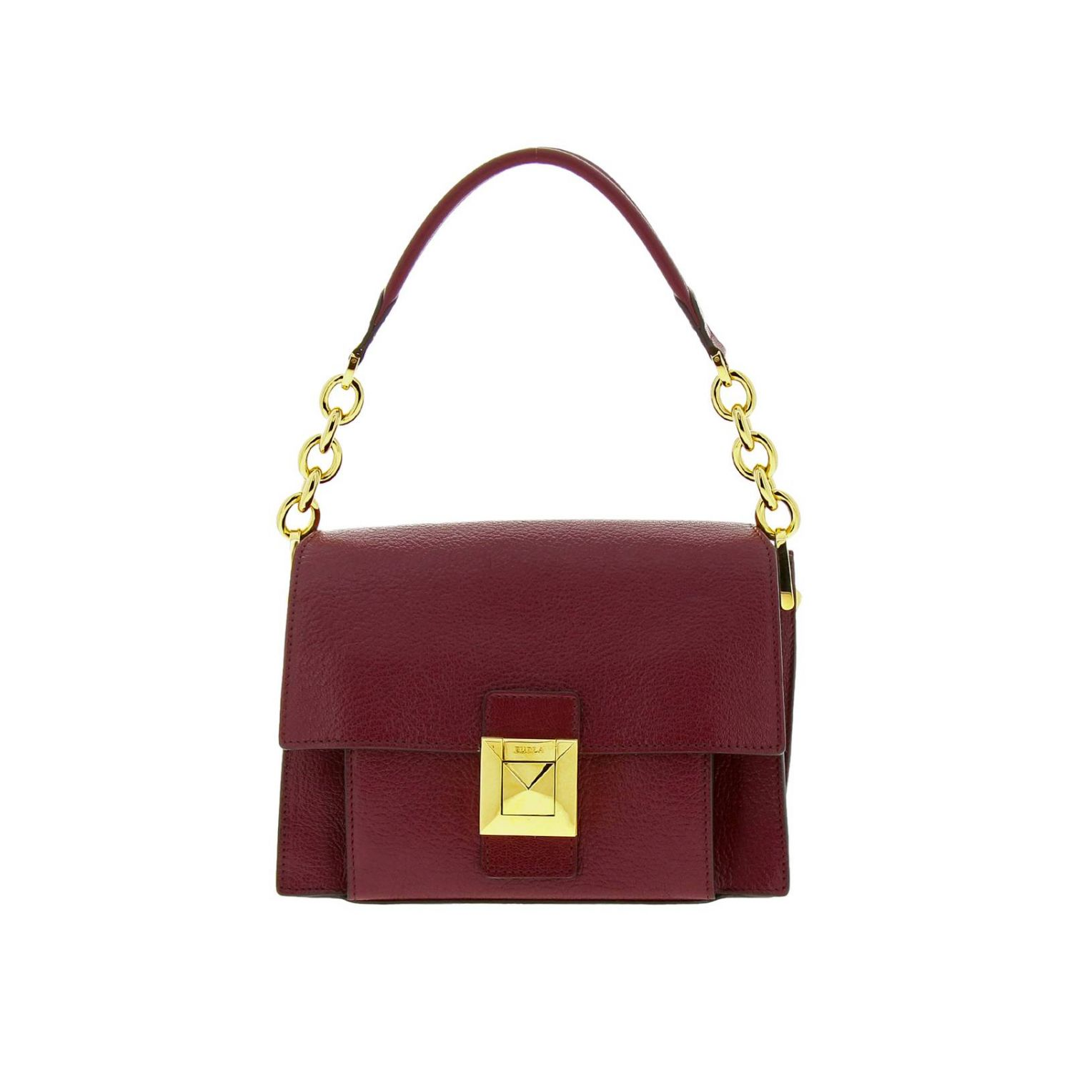 Diva Furla small bag in textured leather with handle and shoulder strap plum 1