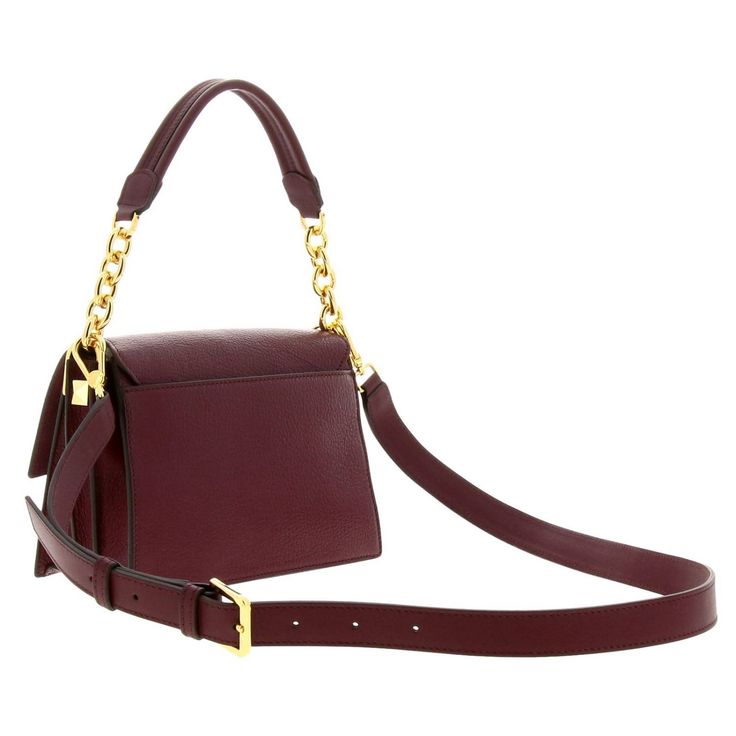 Diva Furla small bag in textured leather with handle and shoulder strap plum 3
