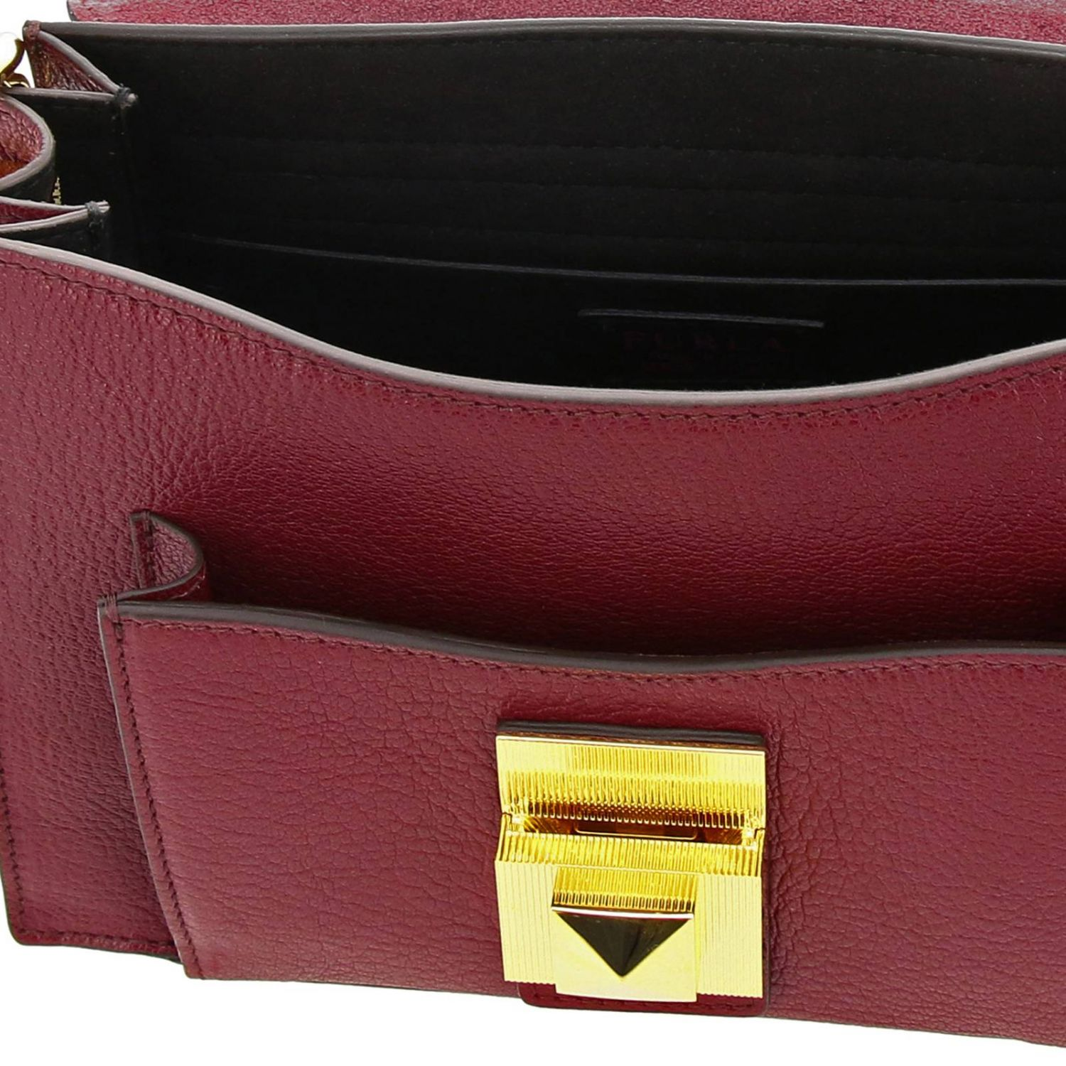 Diva Furla small bag in textured leather with handle and shoulder strap plum 5