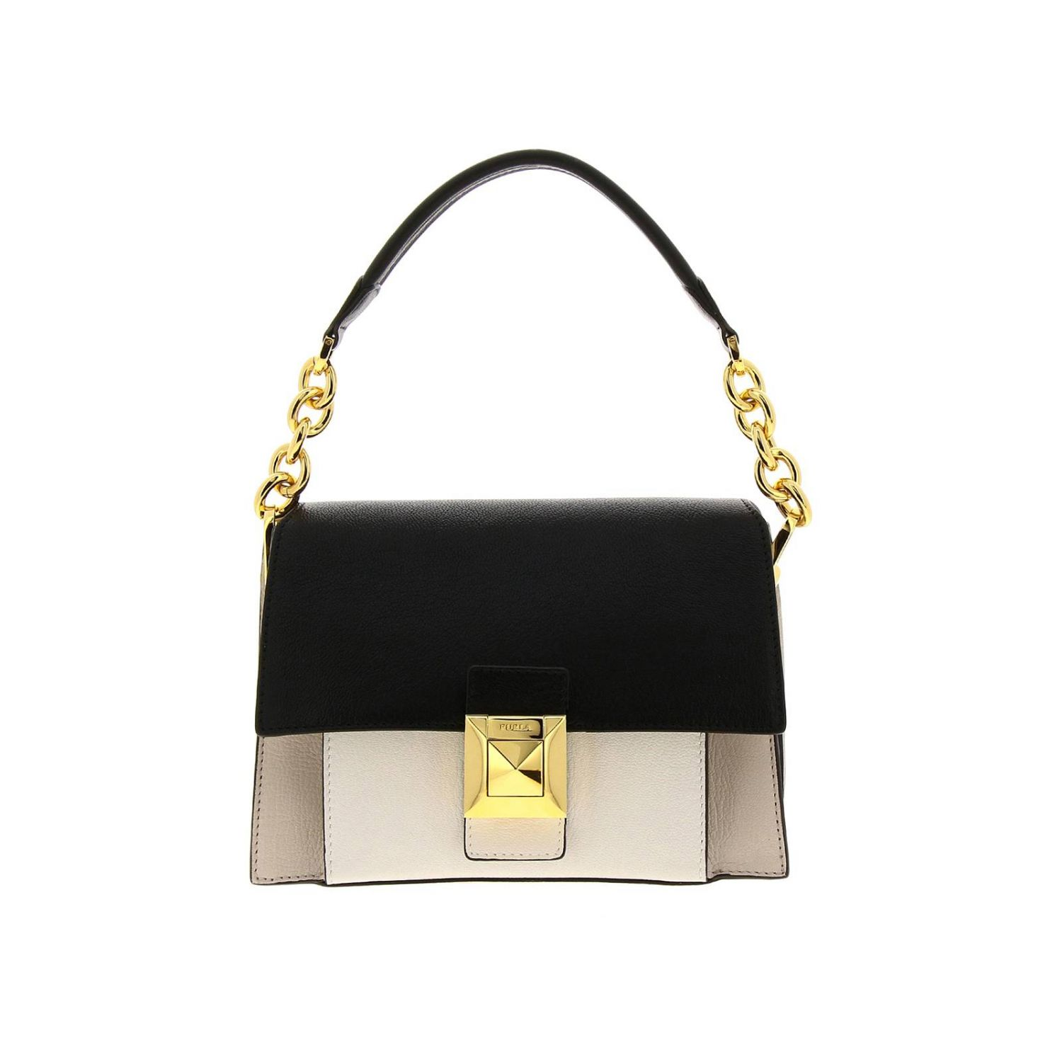 Diva Furla small bag in bicolor leather with handle and shoulder strap black 1