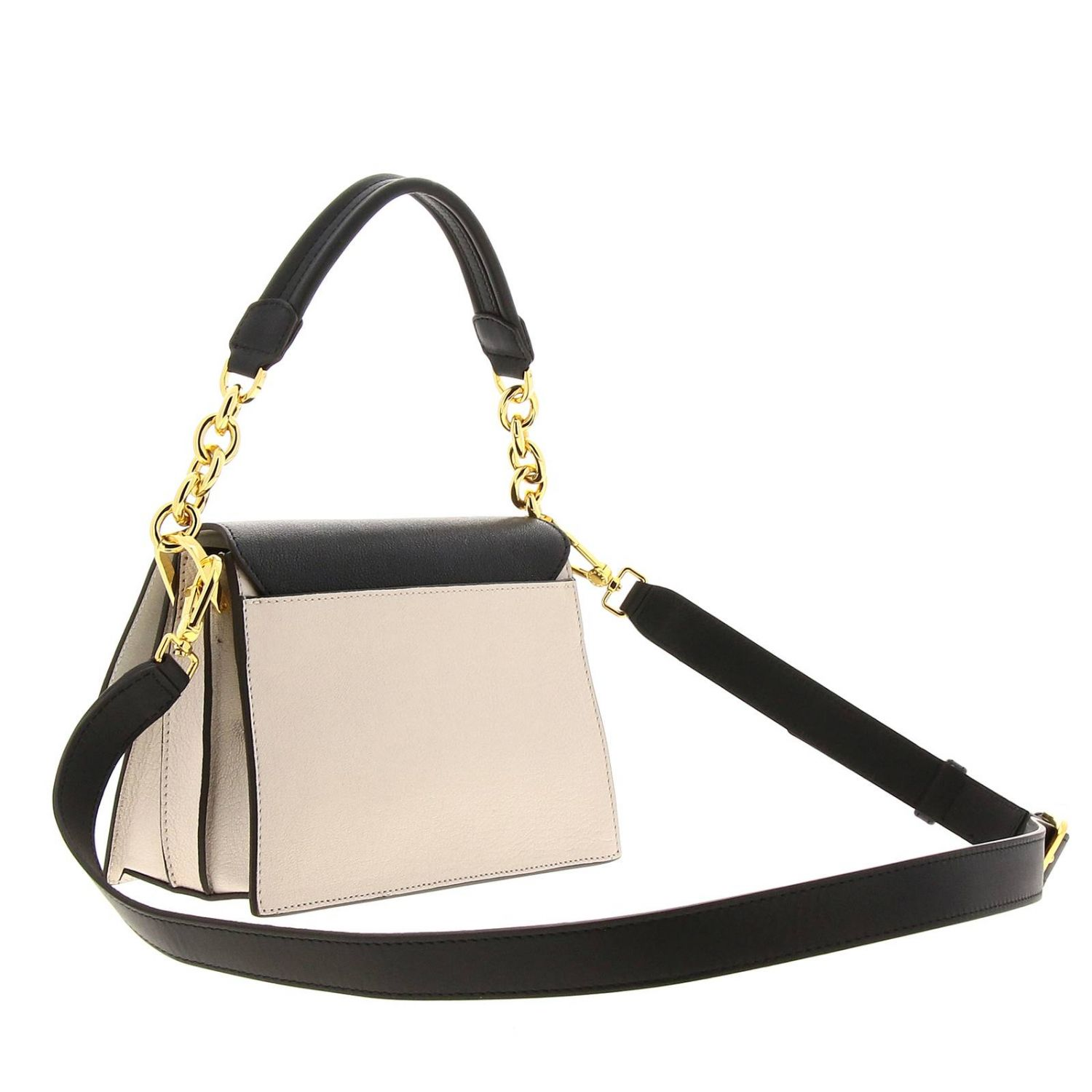 Diva Furla small bag in bicolor leather with handle and shoulder strap black 3