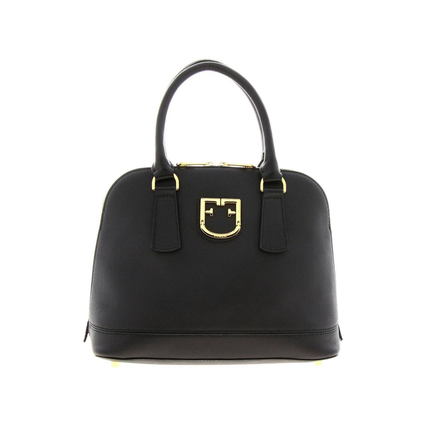 Furla Fantastica small bag in textured leather with FF monogram black 1