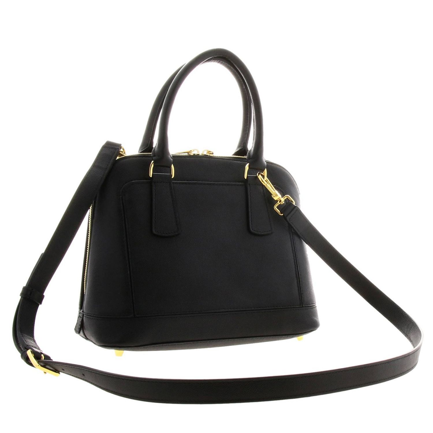 Furla Fantastica small bag in textured leather with FF monogram black 3