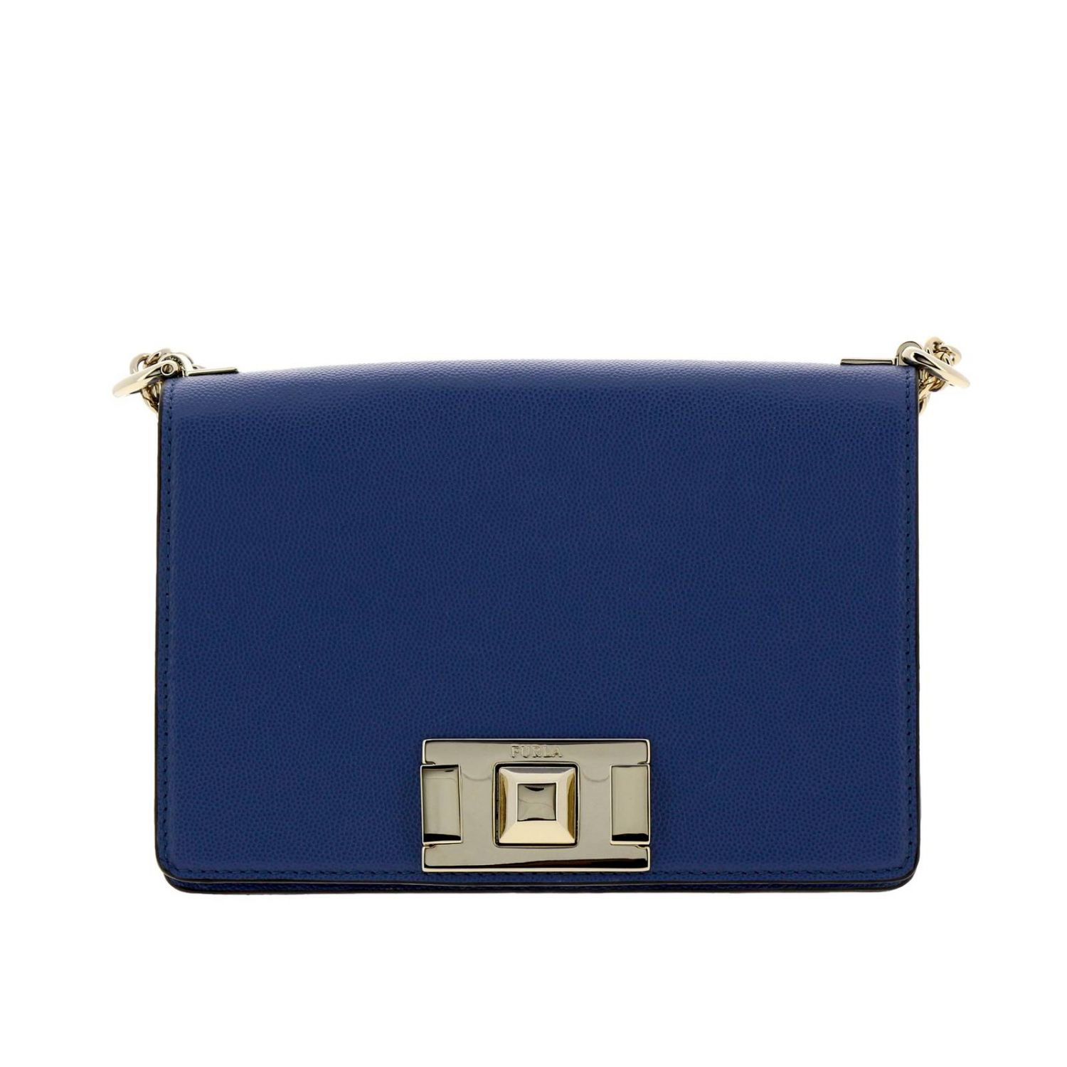 Mini bag Furla: Mimì Furla mini bag in textured leather with shoulder strap periwinkle 1
